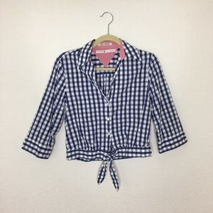 Tommy Hilfiger Navy and White Crop Button Up SZ 4